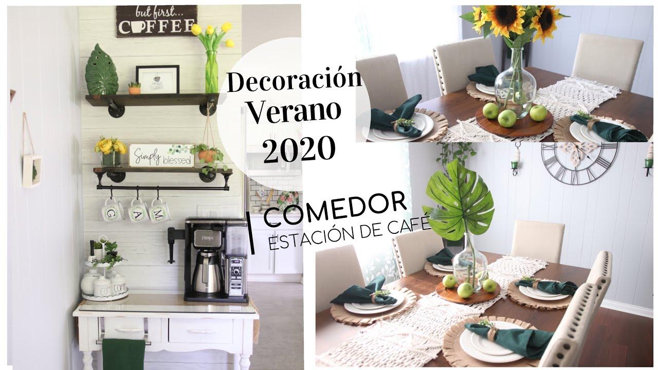 Ideas para decorar el comedor y estación de café en verano