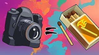 как сделать фотоаппарат из одного спичечного коробка и из ножниц и из фломастеров