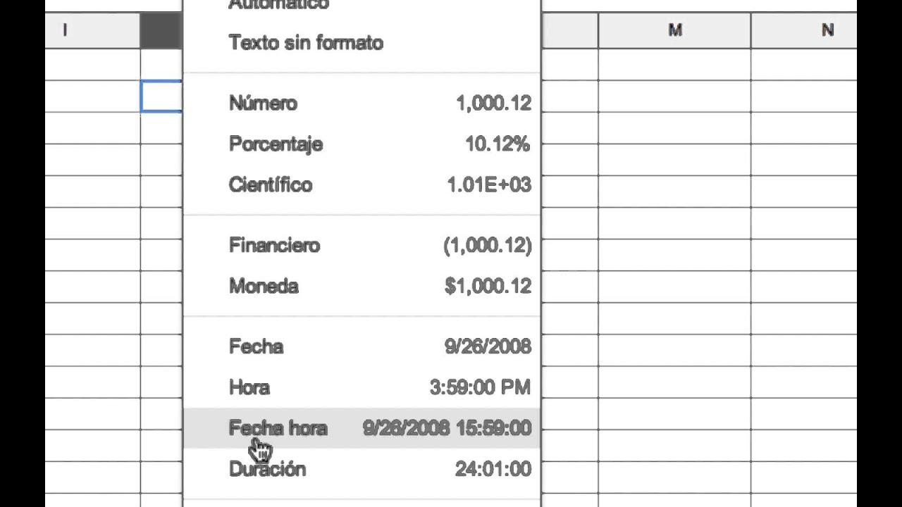 COMO CAMBIAR EL FORMATO DE UN NUMERO EN GOOGLE HOJAS DE CÁLCULO ...