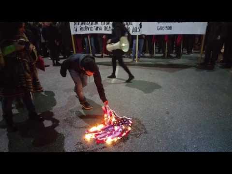 Greek students burn USA flag against Obama and Trump