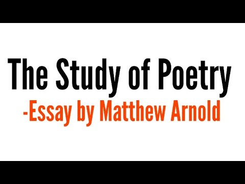 The study of poetry by Matthew Arnold in hindi