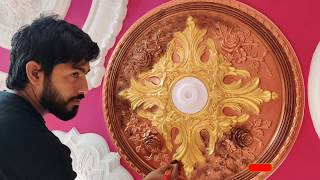 Нow to paint beautiful Ceiling medallion antique Colour & Amazing silver Gold  Painting 4K- Ep-2