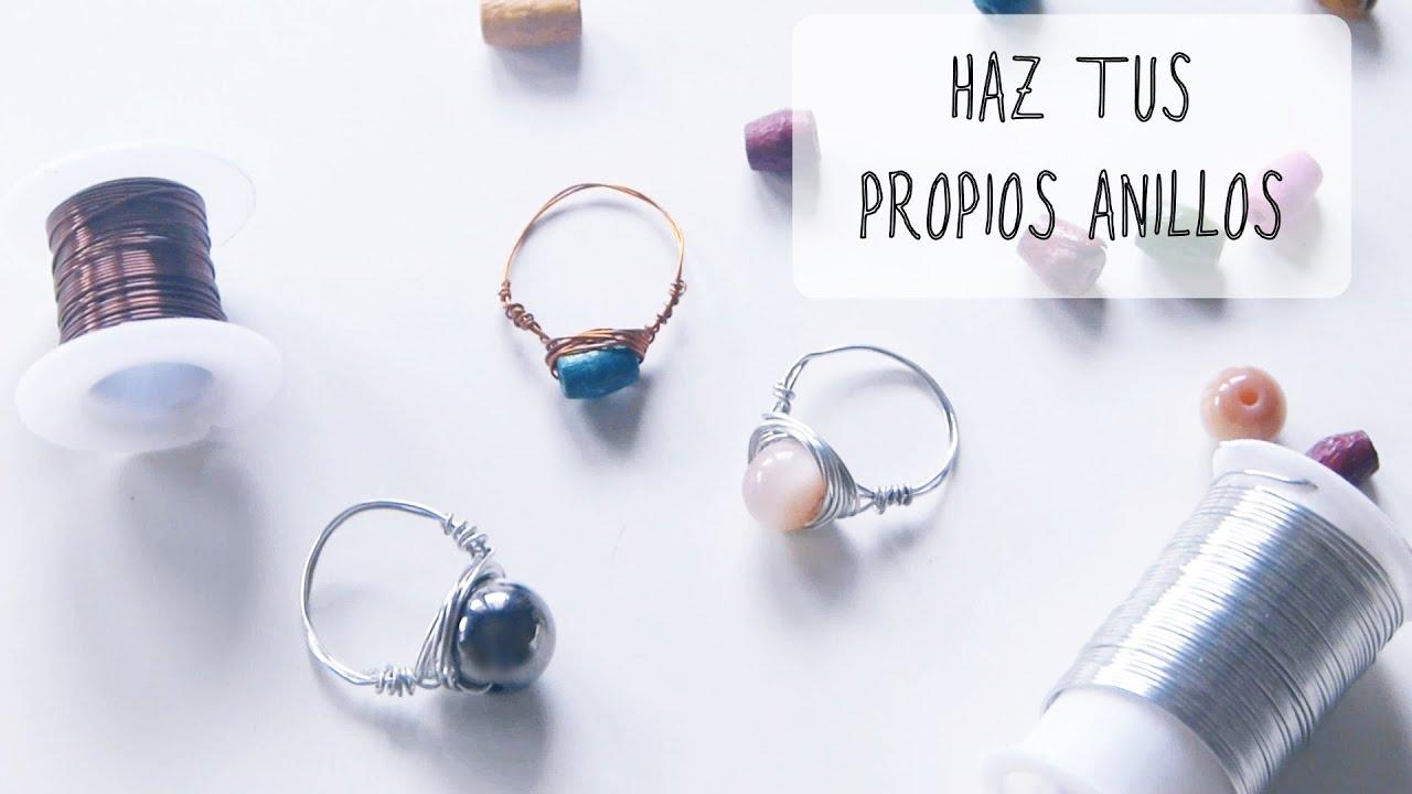 Cómo hacer anillos con alambre y abalorios [Regalo para amiga,hermana,madre] , YouTube