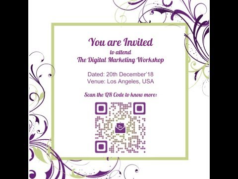 How to create an Event QR Code for invitation cards YouTube