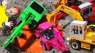 포크레인 덤프트럭 크레인 구출놀이 중장비 자동차 장난감…