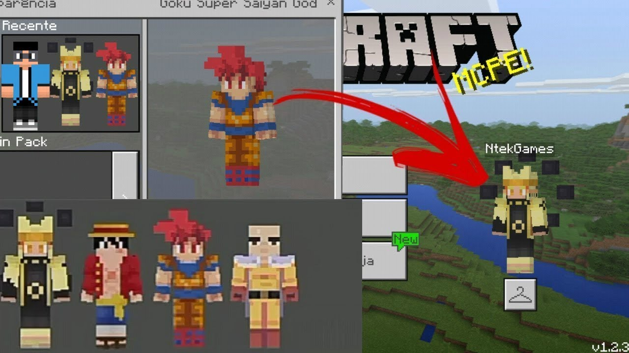 SKIN PACK DD DE ANIME GOKUNARUTO YouTube - Skins para minecraft pe de goku