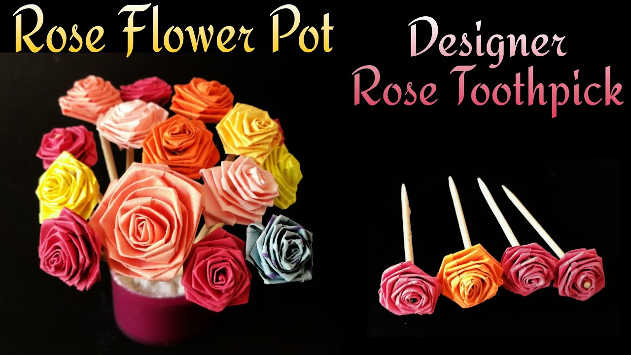 Miniature Rose Flower Pot Rose Top Toothpick For Valentines Day