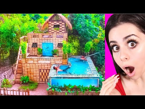 Kids Build Amazing Swimming Pool and House Villa !