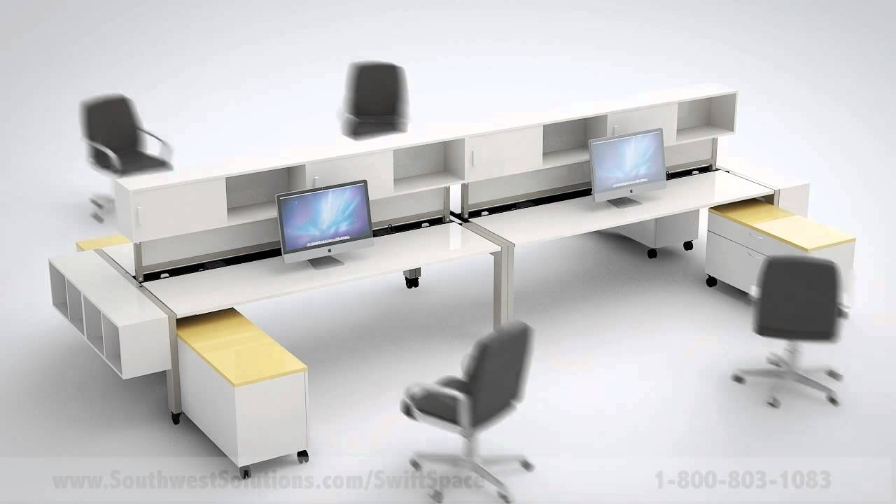 Flexible Furniture Workstations on Wheels Unfold To Change