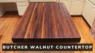How I made a Butcher Style Walnut Countertop // kitchen island top // Woodworking