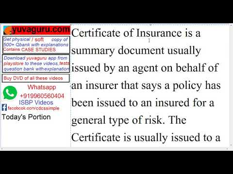 CDCS VIdeo Lectures ISBP 745 K1 Insurance Document and Coverage by Vishal Mantri +919960560404