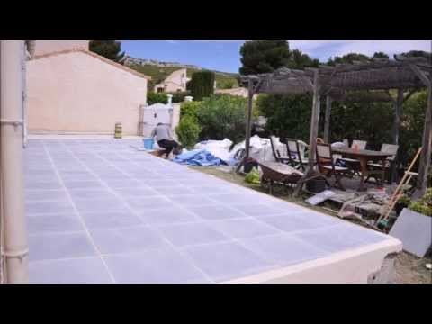terrasse en dalles b ton sur sable terrace concrete slabs on sand bed youtube. Black Bedroom Furniture Sets. Home Design Ideas