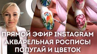 Акварельная роспись гель-лаками! Попугай и цветы. Запись прямого эфира Екатерины Мирошниченко