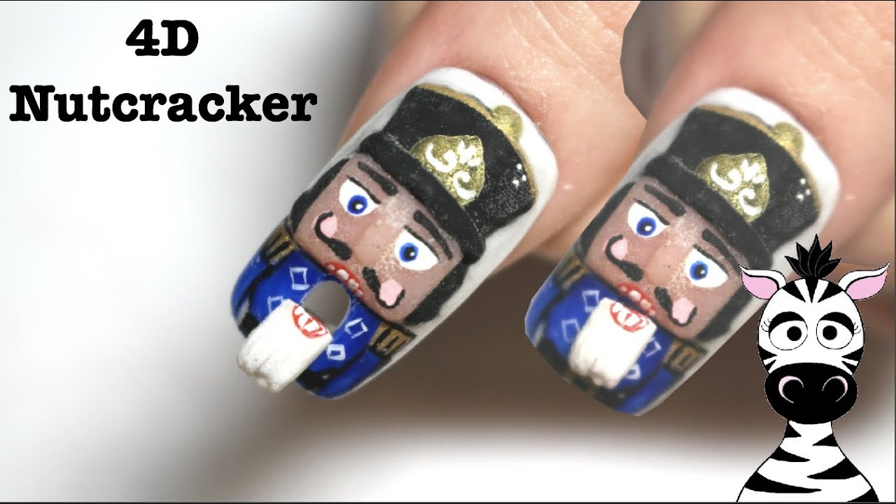 4d Nutcracker With Opening Mouth Acrylic Nail Art Tutorial