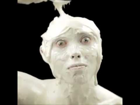 Whipped cream on man