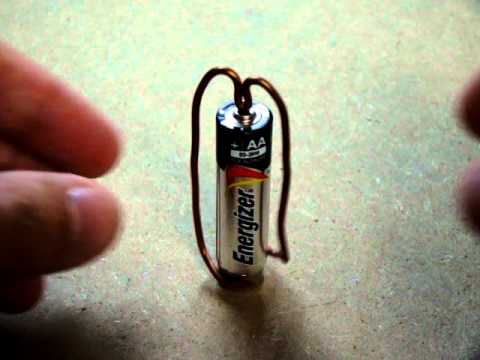 Simplest Motor made with a magnet, AA battery, and a copper wire