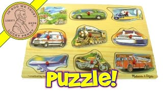 Melissa & Doug Vehicle Sounds Wood Puzzle Toy