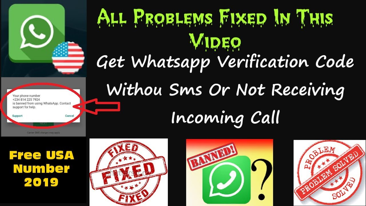 Get Free Usa Number for Whatsapp, Without SmS, Solve Whatsapp banned  Problem, Fix Issue, 2019