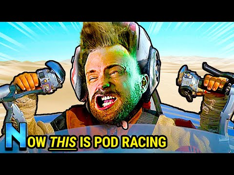 Podracing, but every time you crash you get blasted in the face by a leaf blower.