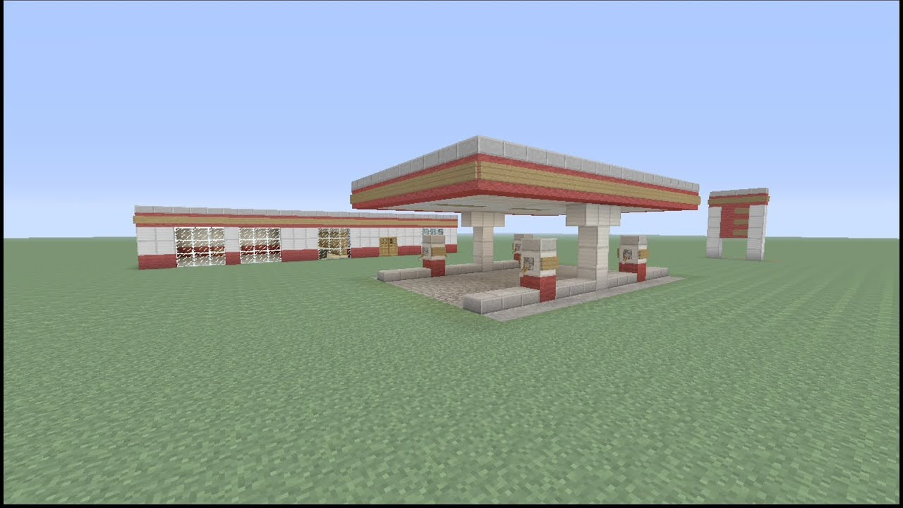 how to build a gas station in minecraft part 2 youtube. Black Bedroom Furniture Sets. Home Design Ideas