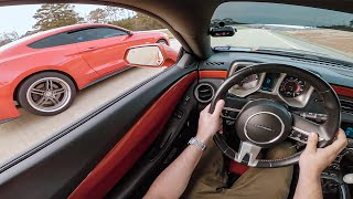 Slow cars make the BEST races! E85 Mustang GT vs. The Itsjusta6 Camaro