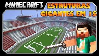 Minecraft - ESTRUTURAS GIGANTES EM 1S (ESTÁDIOS, CASAS, MONTANHA-RUSSAS) Mod Showcase