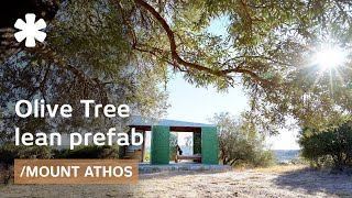 Olive Tree prefab home follows sun & Athos views from a hill
