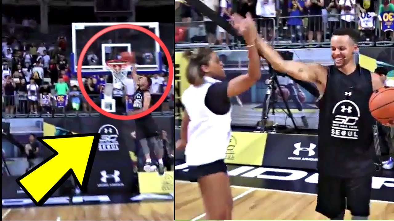 Steph Curry Catches Alley-Oop DUNK From Wife Ayesha Curry In Korea