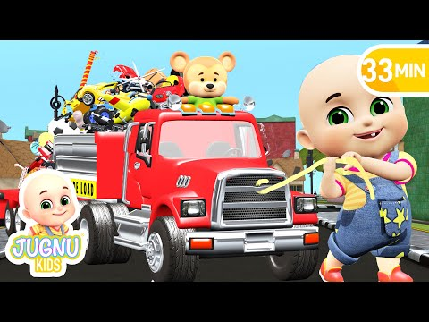 Car Loader Trucks For Kids - Cars Toys Videos, Police Chase, Fire Truck - Surprise Eggs - Jugnu Kids