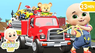 Car Loader Trucks for kids | Cars toys videos, police chase, fire truck - Surprise eggs - Jugnu Kids