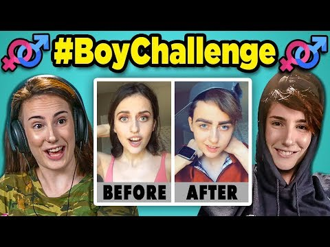 Adults React to #BoyChallenge - Girls Turn Into Boys (Musical.ly/TikTok Compilation)