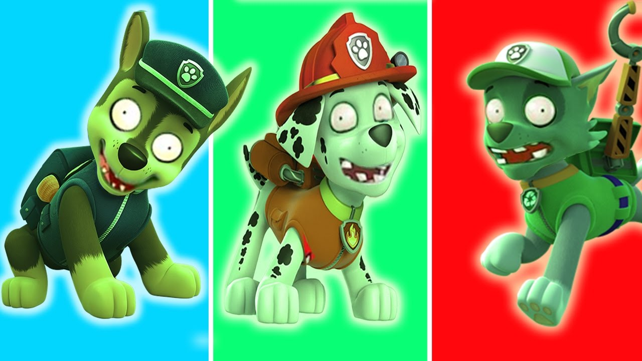 paw patrol transforms into zombie disney chase marshall