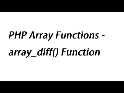 PHP Array Functions - Array_diff() Function