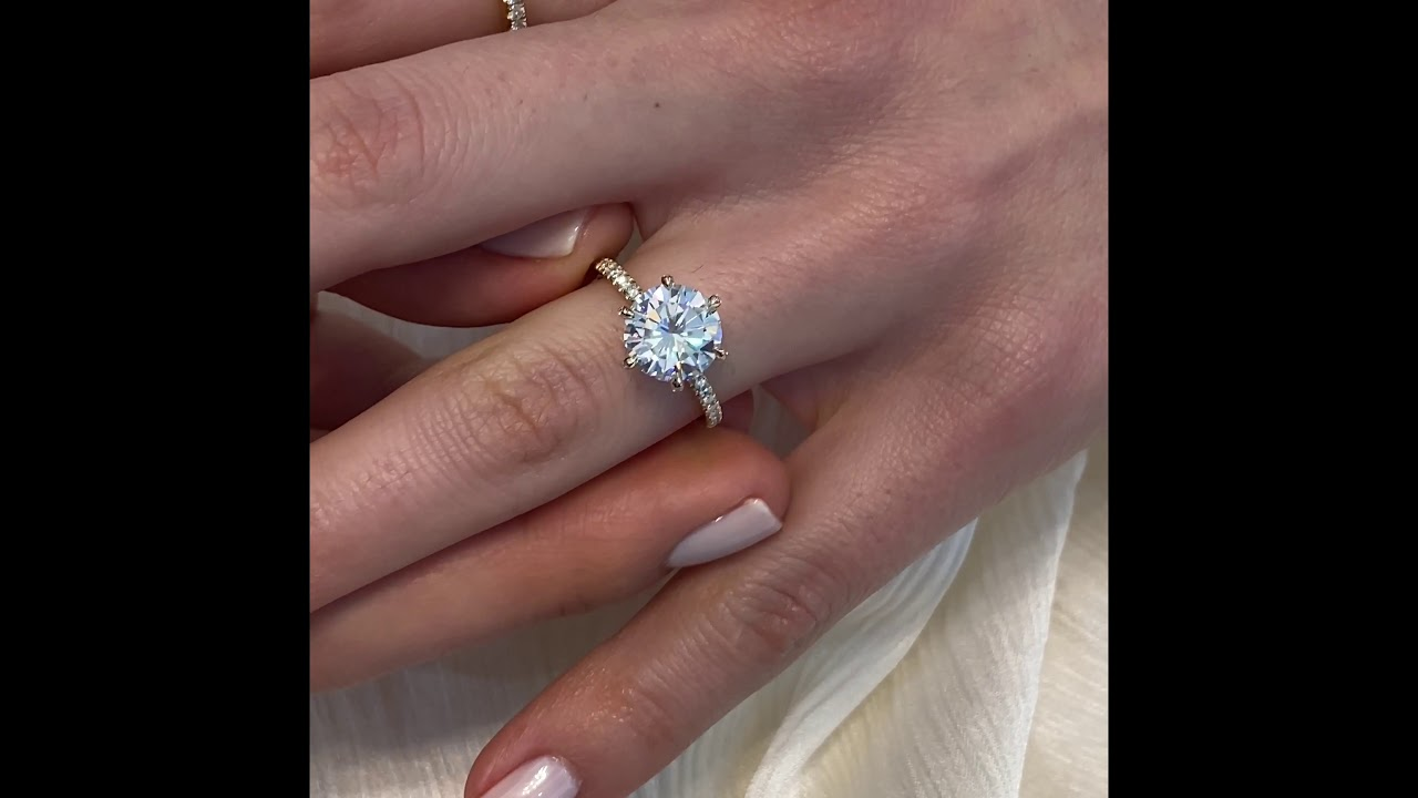2.7 ct Round Moissanite 6-Pave Prong Ring