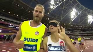 Niewidoma JOANNA MAZUR Złoty Medal w biegu na 1500m T11 London World Para Ath. niesamowity triumf