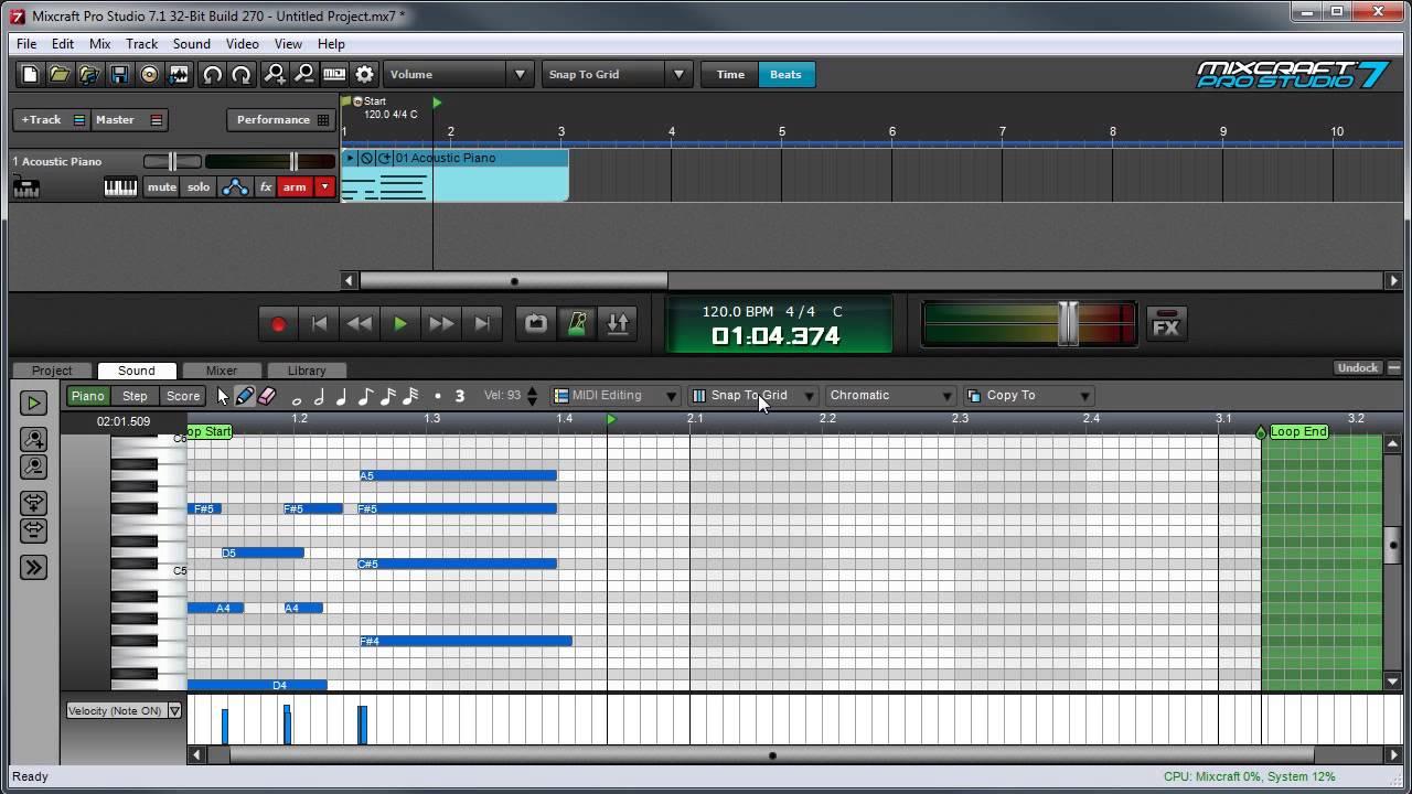 Mixcraft 7 MIDI Editing: Using The Piano Roll Editor