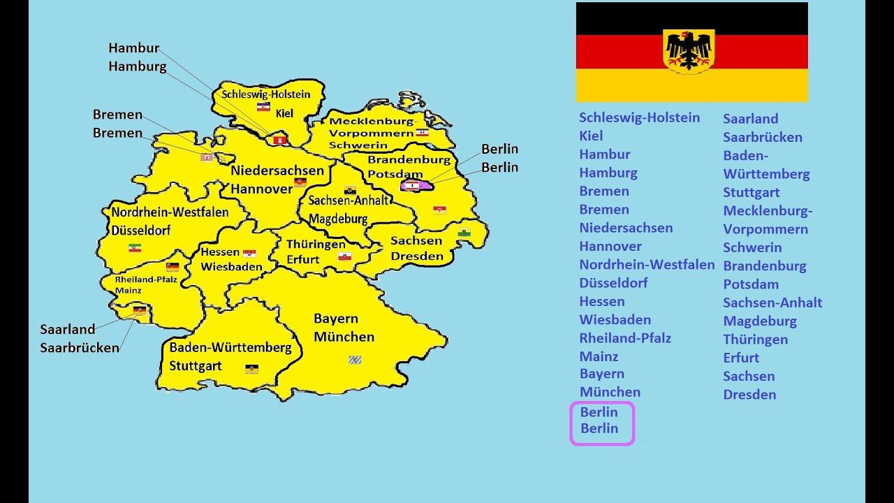 Wie heißen die Deutsche 50 Bundesländer und ihre Hauptstädte ... - Bundesrepublik Deutschland Bundesländer Karte