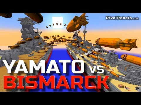 Yamato Vs Bismarck Battleship NUKE WAR In Minecraft