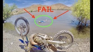 HYDROPLANING A DIRTBIKE FAIL!!
