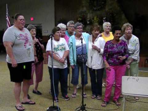 Helene & Helen Atkinson with CCM ladies;  Stop In The Name Of Love, karaoke