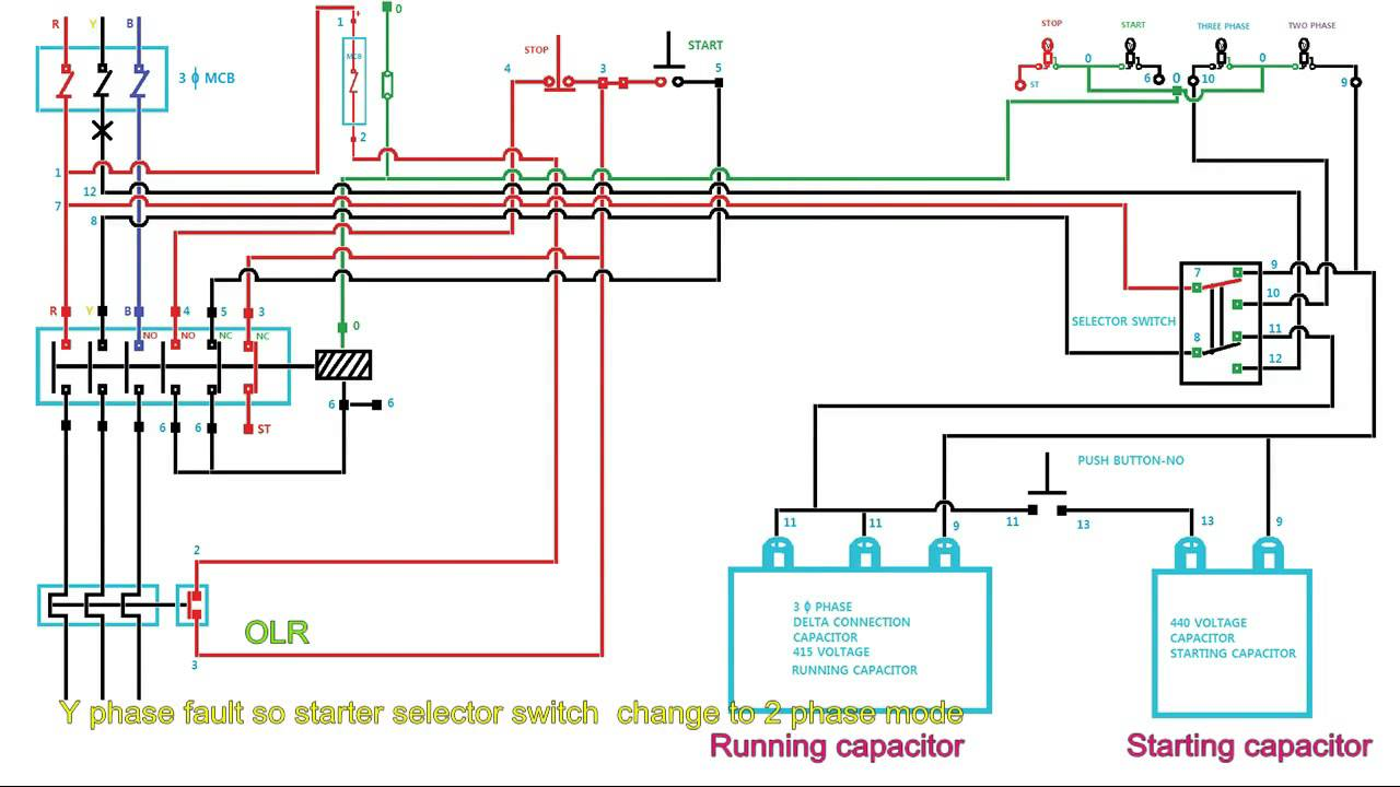 hight resolution of how to start and run 3 phase motor in 2 phase