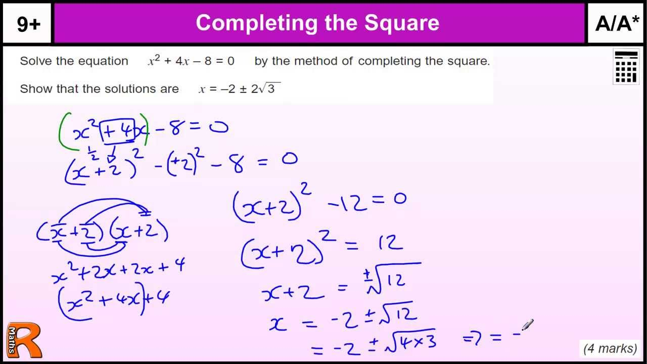 quadratic equation completing the square gcse maths revision exam paper practice help youtube. Black Bedroom Furniture Sets. Home Design Ideas