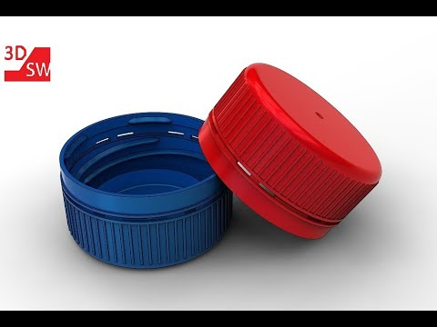 How to make a plastic bottle cap in SolidWorks (screw thread)