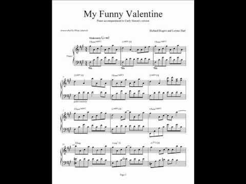 My Funny Valentine   Carly Simon   Piano Accompaniment