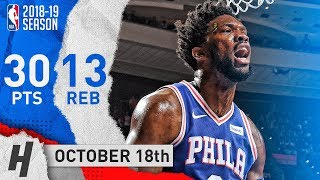 Joel Embiid Full Highlights 76ers vs Bulls 2018.10.18 - 30 Pts, 13 Reb, 4 Blocks!