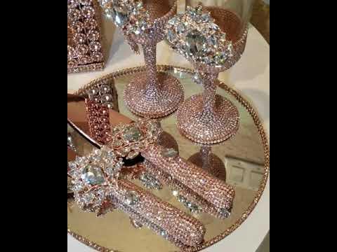 rose-gold-champagne-flutes,-cake-knife-server-set,-card-box,-wedding-cake-and-forks