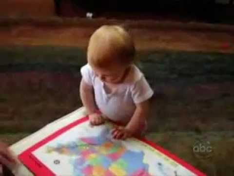 A little girl knows all the united states of America and does the smarty pants dance.