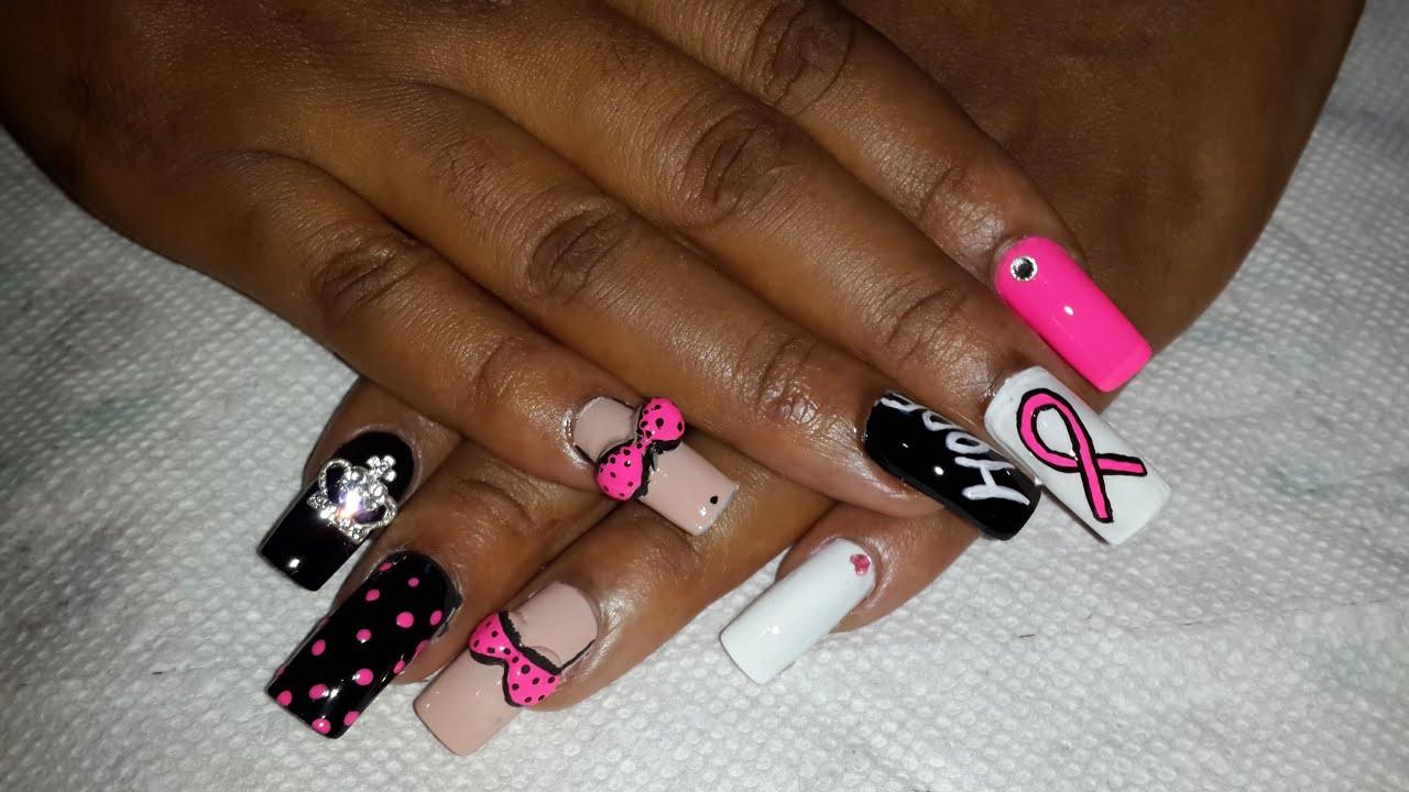 Breast Cancer Awareness Nails - Acrylic Nail Tutorial ...