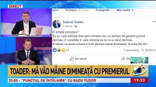 Exclusiv Radu Tudor, mesaj de la Tudorel Toader Viorica Dancila nu mi-a solicitat demisia