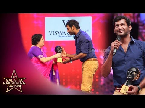 Vishal winning DAREDEVIL OF TAMIL CINEMA | Galatta Nakshatra Awards
